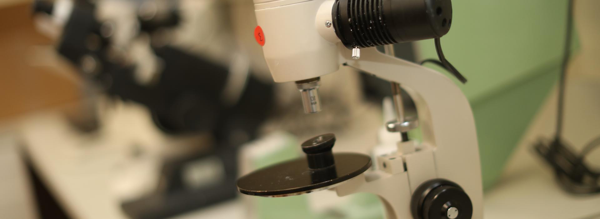 Closeup of microscopes in clinical optometry lab